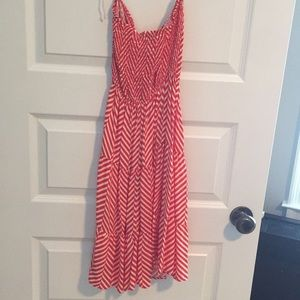 Orange and white striped dress